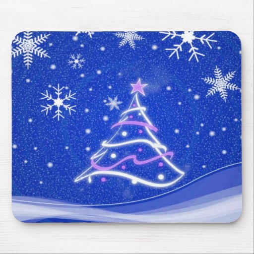 Midwinter forest scene blue mouse pads