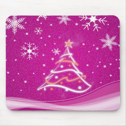Midwinter forest scene fuschia mouse pad