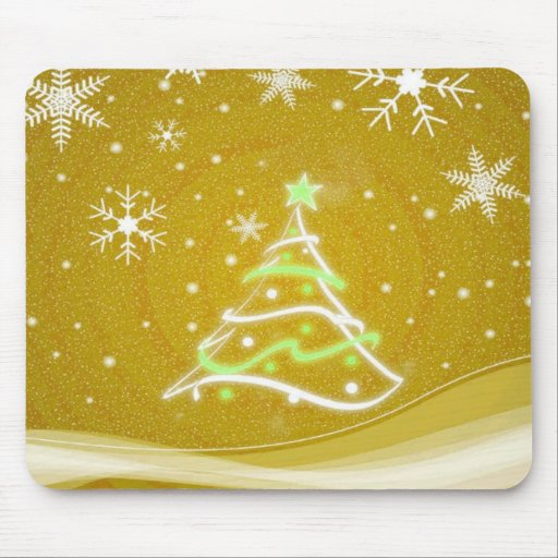 Midwinter forest scene gold mouse pads