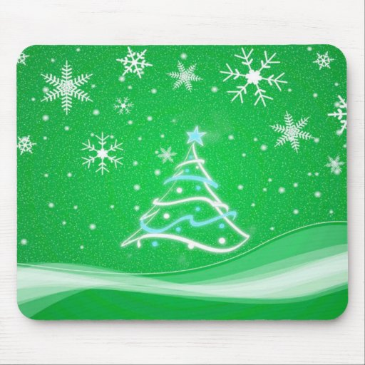 Midwinter forest scene green mouse pad