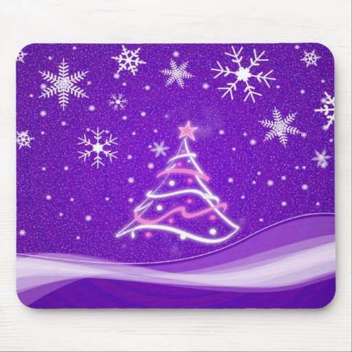 Midwinter forest scene purple mouse pads