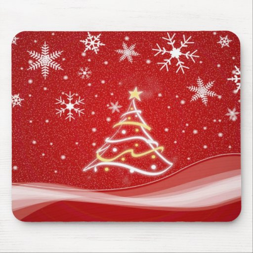 Midwinter forest scene red mousepads