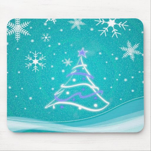 Midwinter forest scene turquoise mousepad