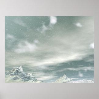 Midwinter Mountain Snow Fall Poster