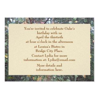 Midwinter Oak & Maple Botanical Birthday 5x7 Paper Invitation Card
