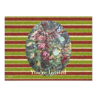 Midwinter Oak & Maple Botanical Birthday Stripes 5.5x7.5 Paper Invitation Card