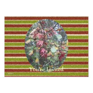 Midwinter Oak & Maple Botanical Birthday Stripes 4.5x6.25 Paper Invitation Card
