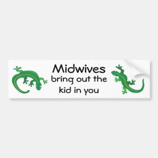 Midwives and Green Lizard Twist Bumper Sticker