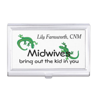 Midwives and Green Lizard Twist Business Card Holder