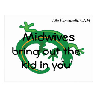 Midwives and Green Lizard Twist Postcard