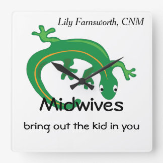 Midwives and Green Lizard Twist Square Wall Clock