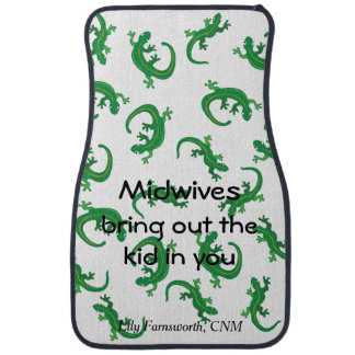 Midwives and Green Lizard Twist with Name Car Mat