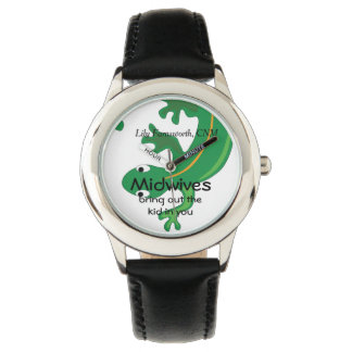 Midwives and Green Twisty Lizard Wrist Watch