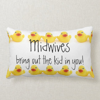 Midwives and Yellow Rubber Ducks Lumbar Pillow