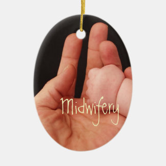 Midwives Double-Sided Oval Ceramic Christmas Ornament