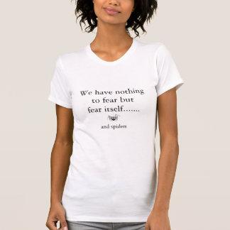 Miedo de la araña cómica del dibujo animado de las camiseta