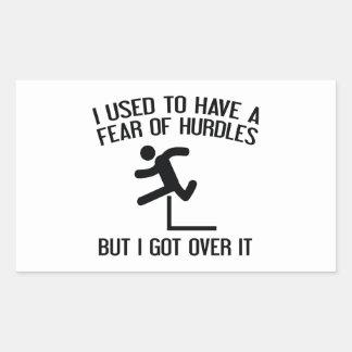 Miedo de obstáculos pegatina rectangular