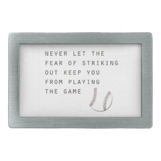 miedo de pegar hacia fuera béisbol moderno hebilla cinturon rectangular