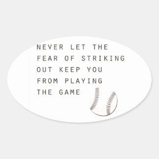miedo de pegar hacia fuera béisbol moderno pegatina ovalada