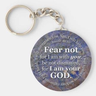Miedo del 41:10 de Isaías no para mí estoy con Llavero Redondo Tipo Pin