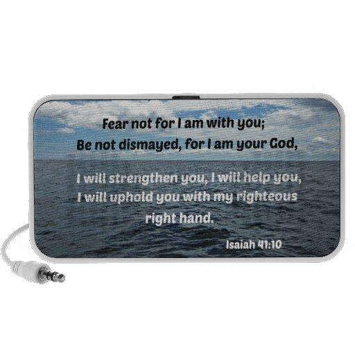 Miedo del 41:10 de Isaías no para mí estoy con ust iPod Altavoz