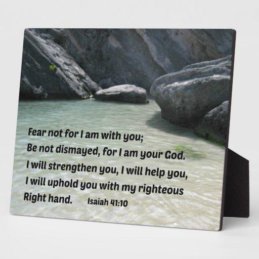 Miedo del 41:10 de Isaías no para mí estoy con ust Placas Con Fotos