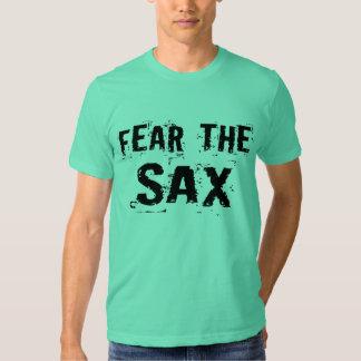 Miedo divertido la camiseta del saxofón remeras