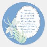 Miedo no, azul de la libélula de la escritura de pegatina redonda