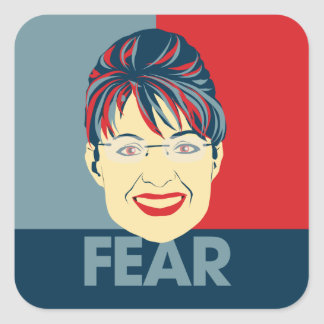 Miedo Sarah Palin Pegatina Cuadrada