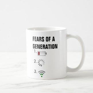 Miedos de una batería baja de la generación, icono taza básica blanca