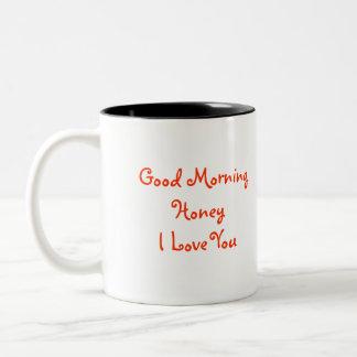 Miel de la buena mañana te amo con el pájaro pH de Tazas