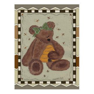 Miel del oso de peluche postal