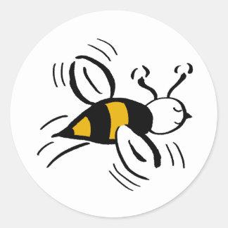 Miel libre y negro de la abeja pegatina redonda