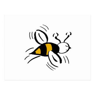 Miel libre y negro de la abeja tarjeta postal