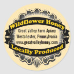 Miel localmente producida pegatina redonda