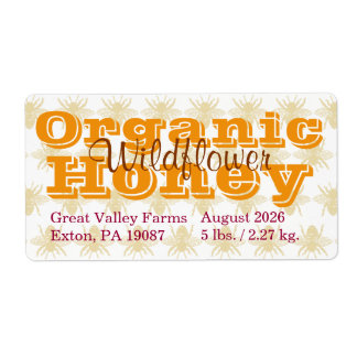 Miel orgánica personalizada abeja reina etiqueta de envío