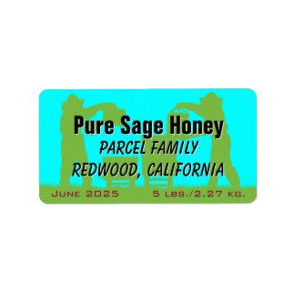 Miel personalizada azul del apicultor etiquetas de dirección