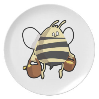 Miel que lleva de la abeja del dibujo animado plato de cena