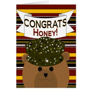 ¡Miel - soldado Congrats del ejército! Tarjeta De Felicitación