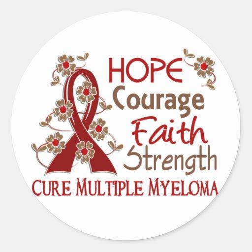 Mieloma múltiple de la fuerza 3 de la fe del valor pegatina redonda