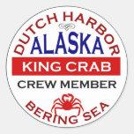 Miembro de equipo de Alaska de rey cangrejo del Pegatinas Redondas