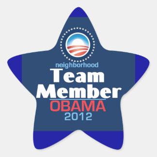 Miembro de equipo de Obama Pegatina En Forma De Estrella