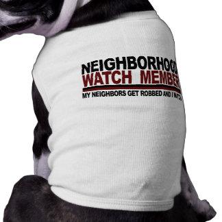 Miembro de la vigilancia vecinal playera sin mangas para perro