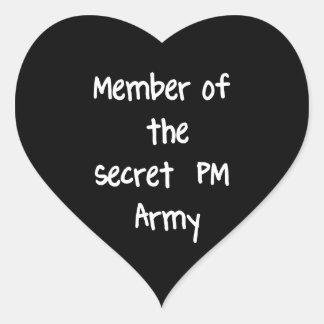 Miembro del ejército del secreto P.M. Calcomania Corazon