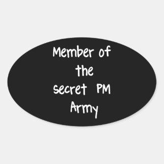 Miembro del ejército del secreto P.M. Pegatinas Oval Personalizadas