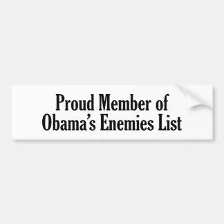 Miembro orgulloso de la lista de los enemigos de O Etiqueta De Parachoque