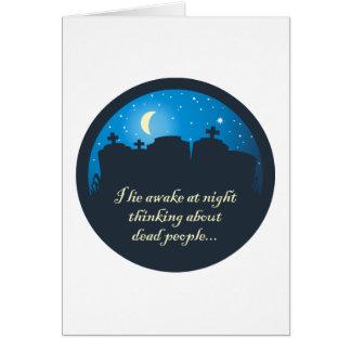 Miento despierto en la noche tarjeta de felicitación