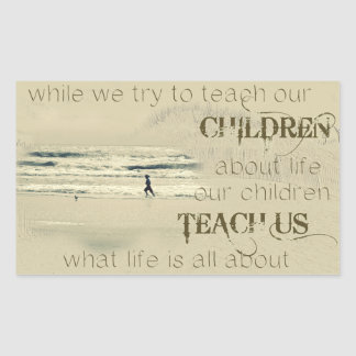 Mientras que intentamos enseñar nuestros niños al pegatina rectangular