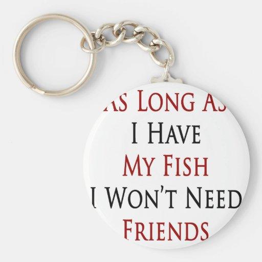 Mientras tenga mis pescados no necesitaré a amigos llavero redondo tipo pin