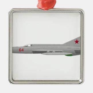 MiG 21MF Fishbed J Adorno Navideño Cuadrado De Metal